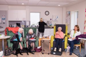 Day Therapy patients in a seated exercise class, meeting Phoebe the PAT dog and chatting to staff and volunteers. The Hospice's day therapy services were inspected in December, alongside the Inpatient Unit, Arthur Rank Community Team (including Hospice at Home and the Specialist Palliative Care Home team), patient and family support, lymphoedema, therapy and education centre services.