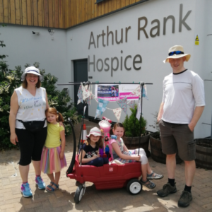 The Lovewell Family, who took part in the Hospice's virtual Star Shine Walk with their three young girls, by walking from their home in Sawston to the Hospice and back in one day!