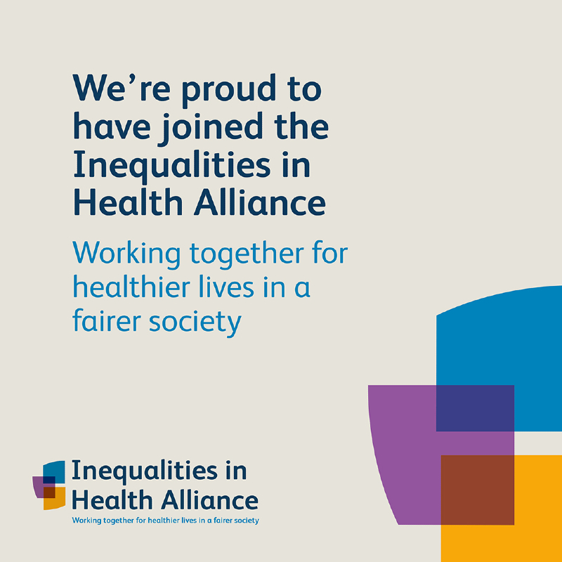 Inequalities in Health Alliance Logo with strapline: 'Working together for healthies lives in a fairer society'