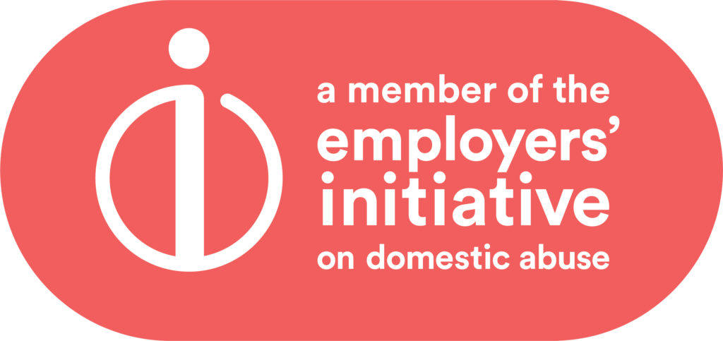 EIDA logo white writing on coral lozenge, with logo and words: 'a member of the employers' initiative on domestic abuse'