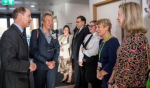 : His Royal Highness, The Earl of Wessex, Prince Edward accompanied by Lord Lieutenant Julie Spence is greeted by (right to left) Ms Isabel Napper Chair of Trustees and CEO of the Arthur Rank Hospice, Dr Lynn Morgan