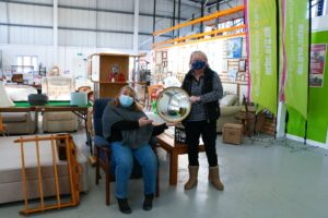 Volunteers wearing masks at the Retail Hub in Sawston