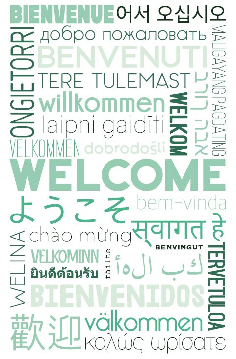 A poster showing the word 'Welcome' all in one green but in all different shapes, sizes and fonts