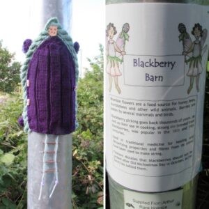 Purple and blue knitted fairy door on the lamppost leading to Arthur Rank Hospice