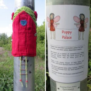 Red knitted door on the lamp post leading to Arthur Rank Hospice