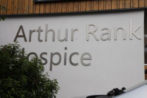Laine's photo of the Arthur Rank Hospice sign outside the building