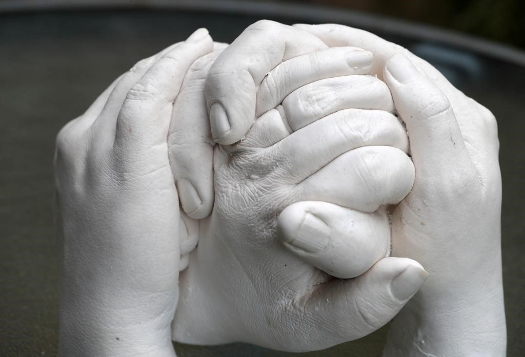 Close up of hand cast showing all the little details including texture of skin