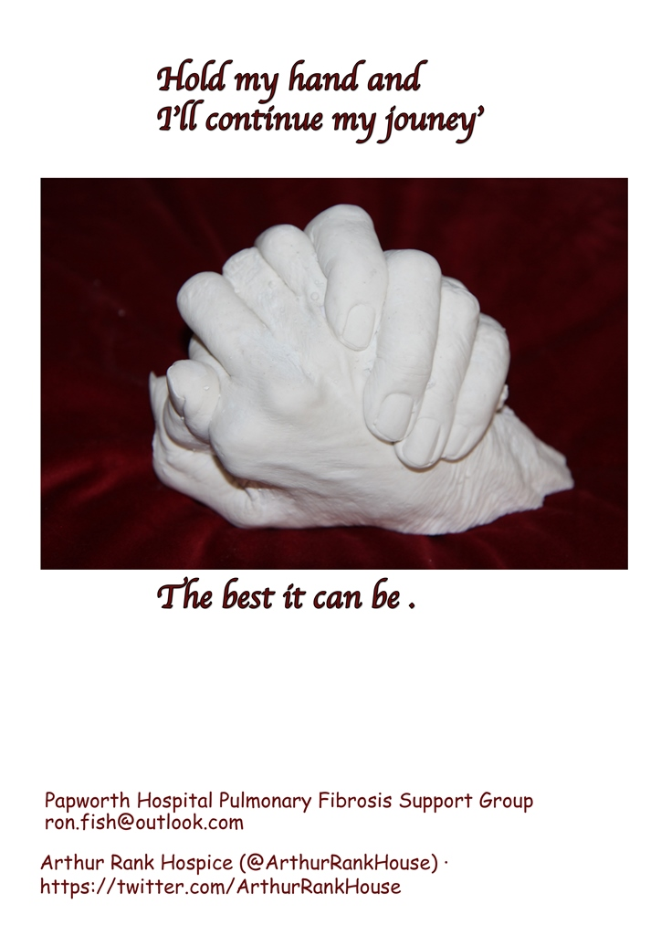 Hand cast of Laine and Geoff's hands with words 'Hold my hand and I'll continue my journey. The best it can be.'