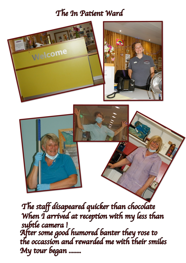 Collage of images showing colleagues from the Inpatient Unit: 'after some good humoured banter they rose to the occasion and rewarded me with their smiles'.