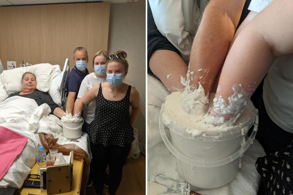 Side-by-side photos of family in Inpatient Unit bedroom making cast, and a close up showing the gloopy bucket