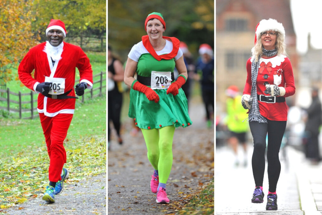 Runners in colourful Santa and Elf outfits taking part in previous years of the Festive Run