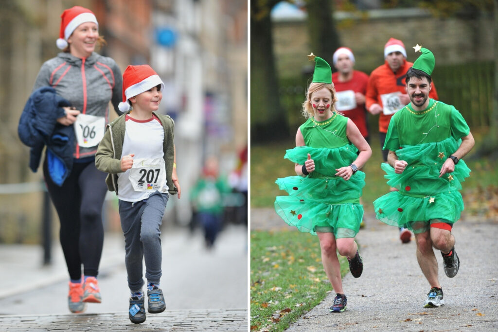 A pair in full Christmas Tree outfits (right) and a mother and son in Santa hats (left) taking part in the Festive Run in previous years