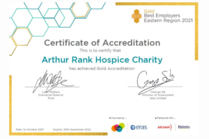 Gold Best Employers Certificate awarded to Arthur Rank Hospice Charity