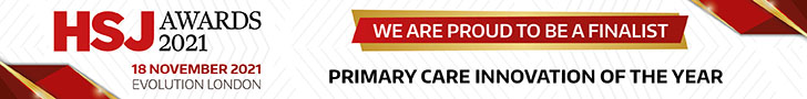 Banner saying 'We are proud to be a finalist, Primary Care Innovation of the year' with HSJ logos